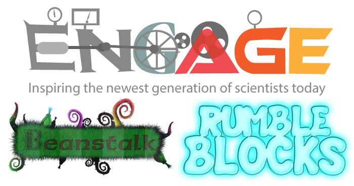 Engage project, Beanstalk game, and RumbleBlocks game logos